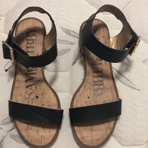 Sam & Libby  Black sandals with gold accents